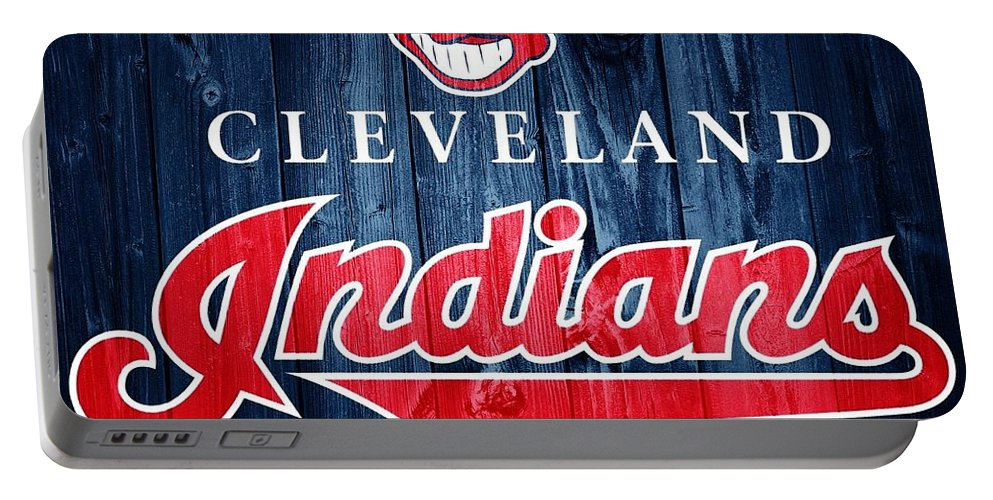Cleveland Indians Barn Door Portable Battery Charger featuring the photograph Cleveland Indians Barn Door by Dan Sproul