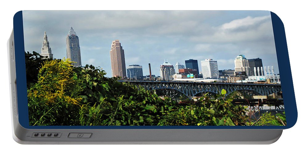 Bridge Portable Battery Charger featuring the photograph Cleveland Poster by Joan Minchak
