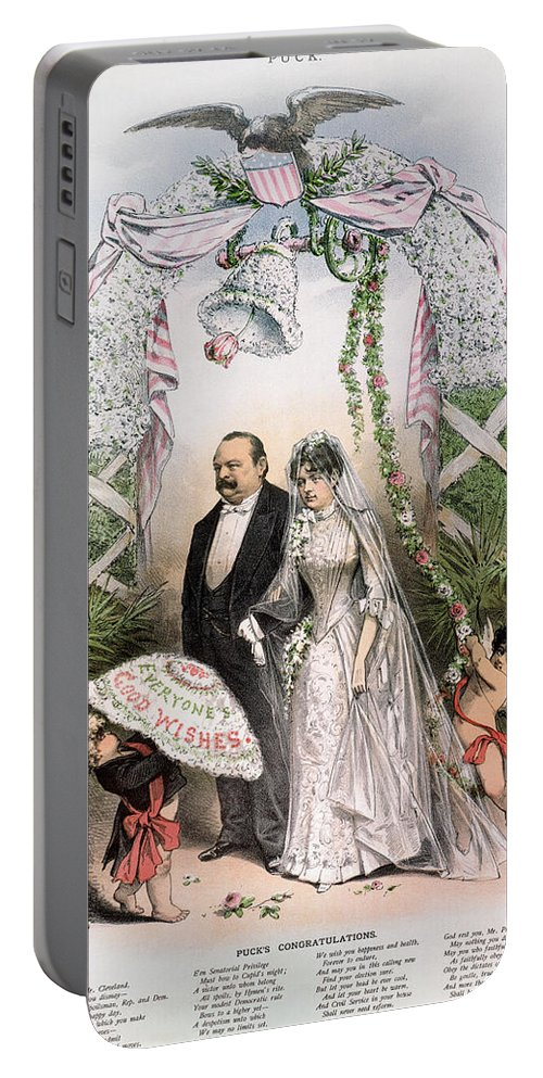 1886 Portable Battery Charger featuring the photograph Clevelands Wedding, 1886 by Granger