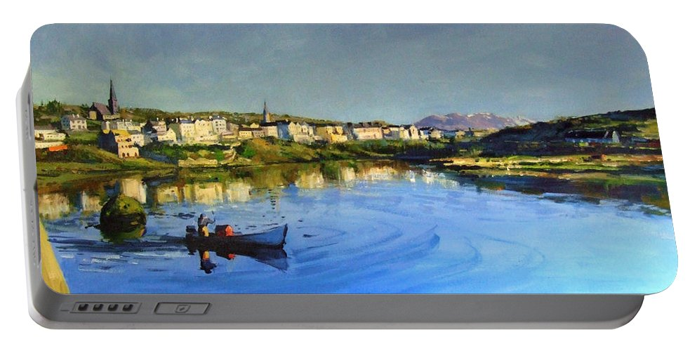 Clifden Portable Battery Charger featuring the painting Clifden Harbour by Conor McGuire
