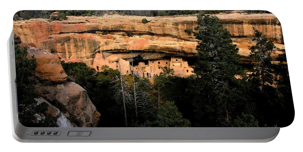 Cliff Dwellings Portable Battery Charger featuring the painting Cliff Dwelling by David Lee Thompson