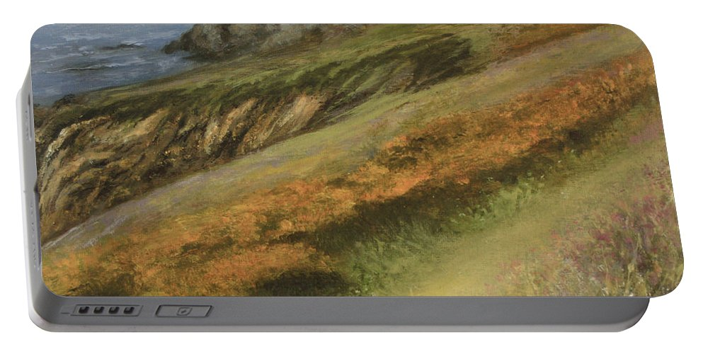 Cliffs Portable Battery Charger featuring the painting Cliff Walk by Valerie Travers