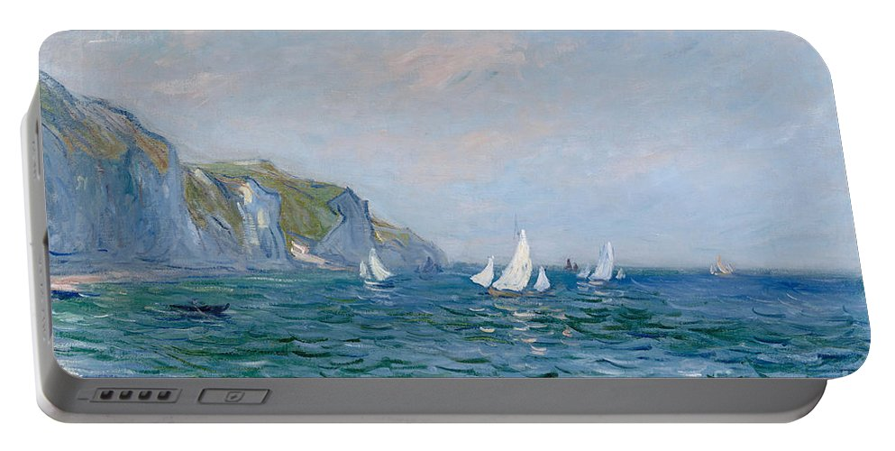 Cliffs And Sailboats At Pourville (oil On Canvas) Impressionism; Impressionist; Seascape; Sea; Ocean; Boat; Sailing; Sail; Yacht; Cliff; Monet Portable Battery Charger featuring the painting Cliffs and Sailboats at Pourville by Claude Monet