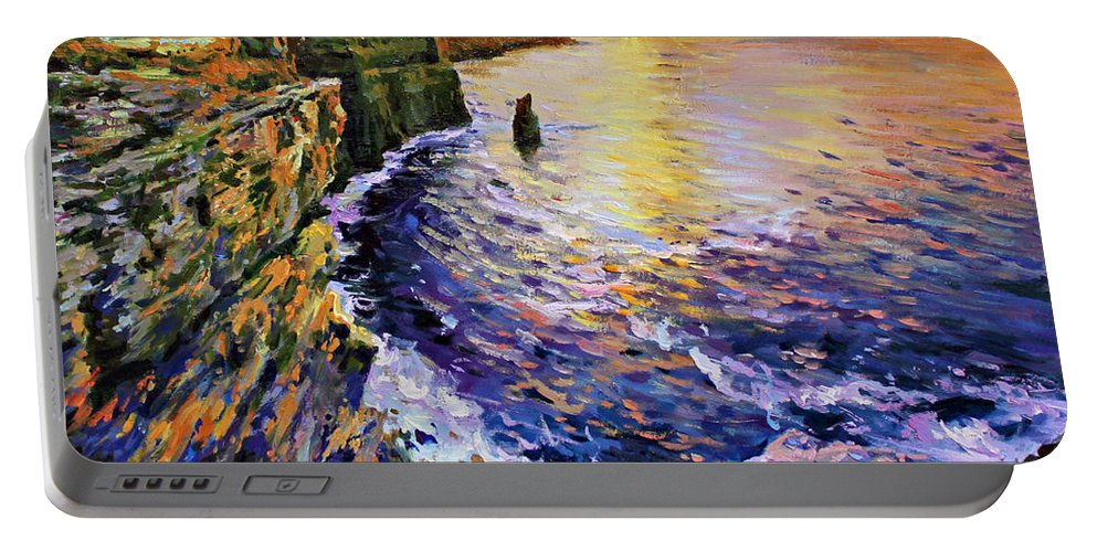 Cliffs Of Moher Portable Battery Charger featuring the painting Cliffs Of Moher At Sunset by Conor McGuire