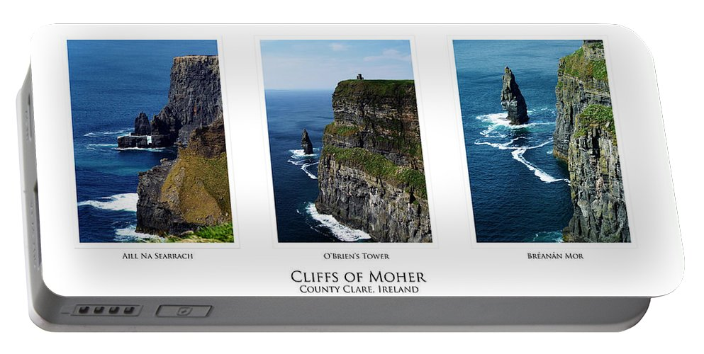 Irish Portable Battery Charger featuring the photograph Cliffs Of Moher Ireland Triptych by Teresa Mucha