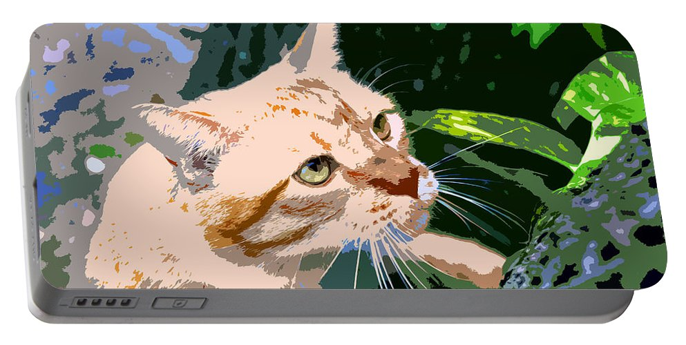 Feline Portable Battery Charger featuring the painting Climbing Cat by David Lee Thompson