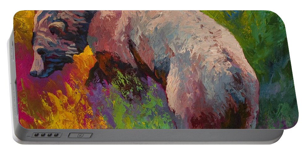 Western Portable Battery Charger featuring the painting Climbing The Bank - Grizzly Bear by Marion Rose