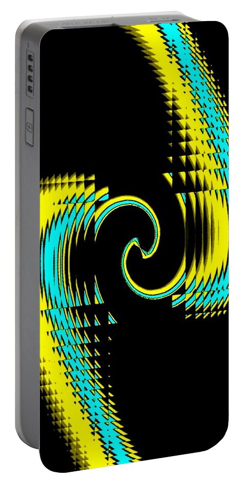 Abstract Portable Battery Charger featuring the digital art Clinched by Will Borden