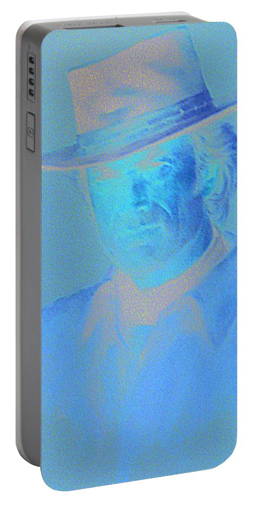Clint Eastwood Portrait Portable Battery Charger featuring the pastel Clint Eastwood by Charles Vernon Moran