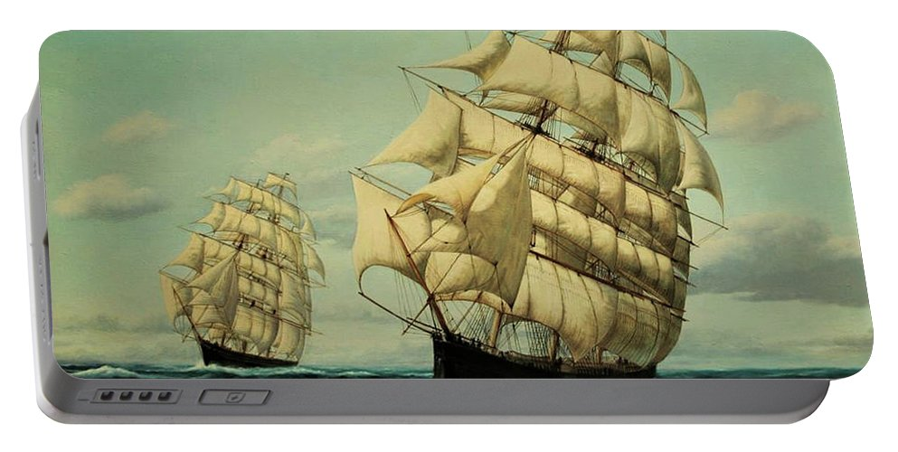 Sailing Ships Portable Battery Charger featuring the painting Clipper Ships Racing To Port by Zohrab Kemkemian
