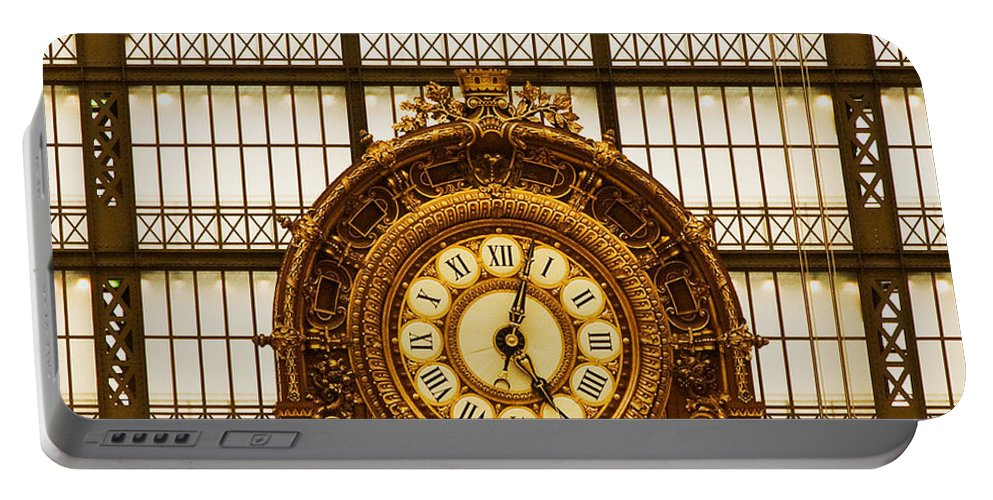 Paris Portable Battery Charger featuring the photograph Clock Dorsay Museum by Mick Burkey