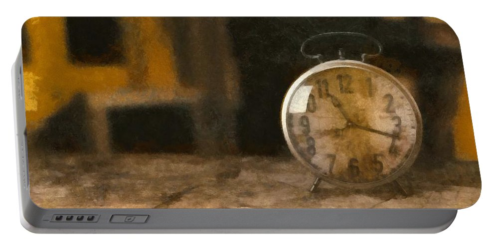 Old Portable Battery Charger featuring the painting Clock - Id 16218-130706-9555 by S Lurk