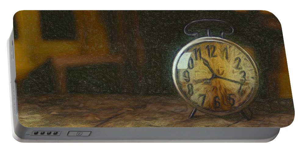 Old Portable Battery Charger featuring the painting Clock - Id 16218-130715-1843 by S Lurk