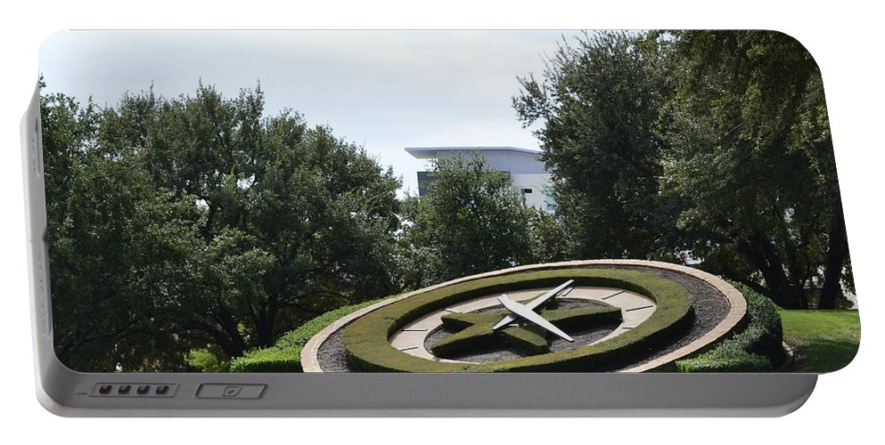 Clock In Los Colinas Prints Portable Battery Charger featuring the photograph Clock In Los Colinas by Ruth Housley