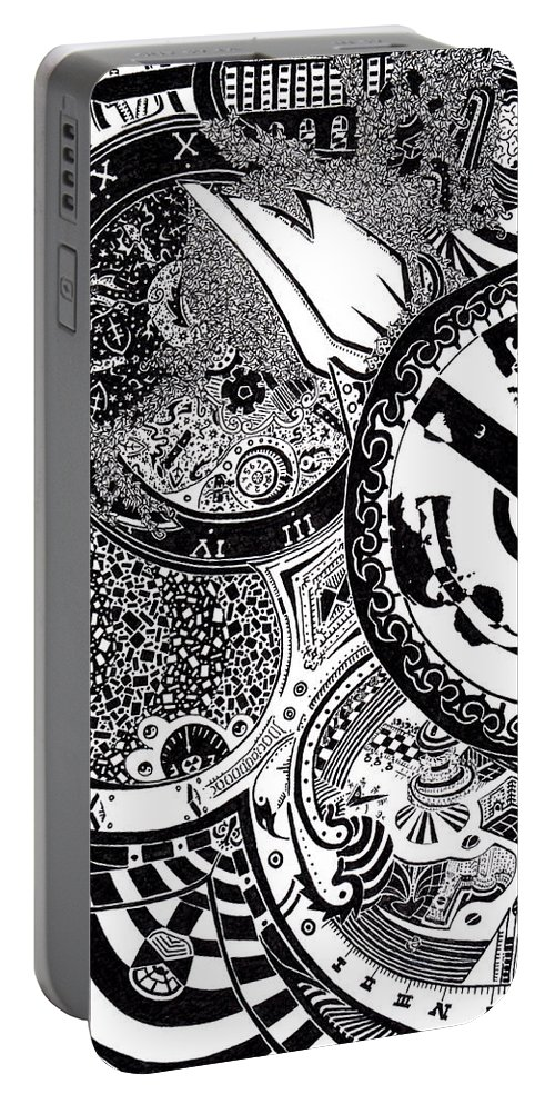 Pen And Ink Portable Battery Charger featuring the drawing Clockwork by Red Gevhere