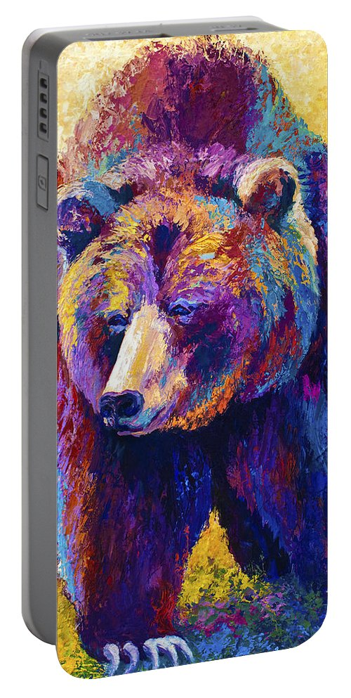 Western Portable Battery Charger featuring the painting Close Encounter - Grizzly Bear by Marion Rose