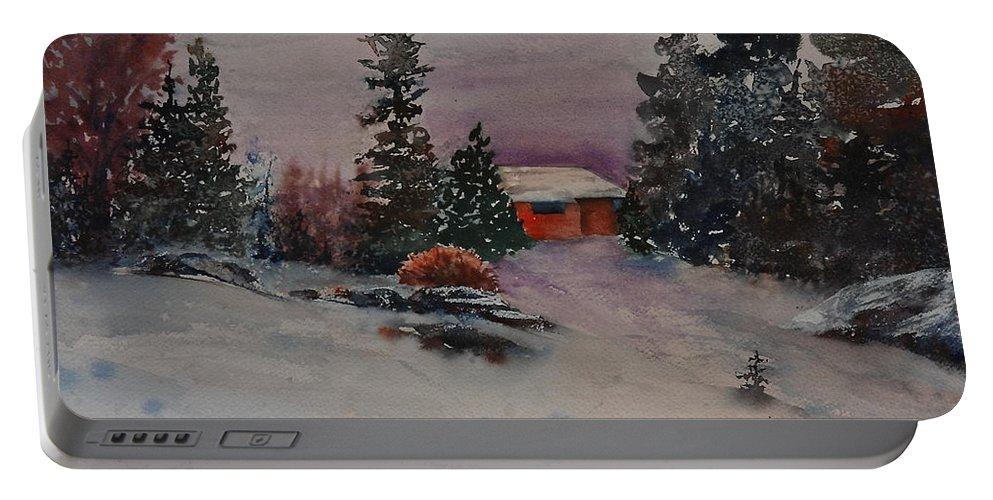 Cottage Portable Battery Charger featuring the painting Closed For The Season by Ruth Kamenev