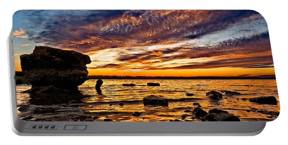 Sunset Portable Battery Charger featuring the photograph Closing Colors by Christopher Holmes
