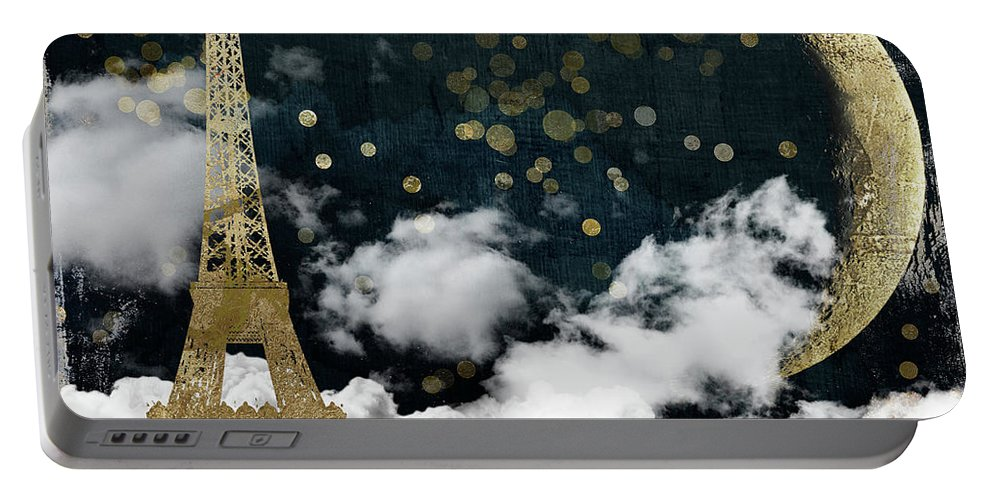 Paris Portable Battery Charger featuring the painting Cloud Cities Paris by Mindy Sommers