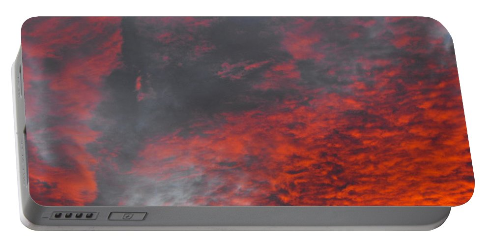 Cloud Fire With Rays Portable Battery Charger featuring the photograph Cloud Fire With Rays by Ginger Repke