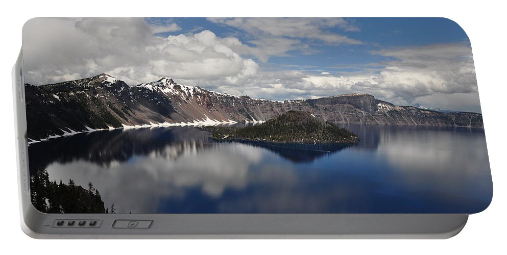 Lake Portable Battery Charger featuring the photograph Cloud Reflections by Terry Anderson