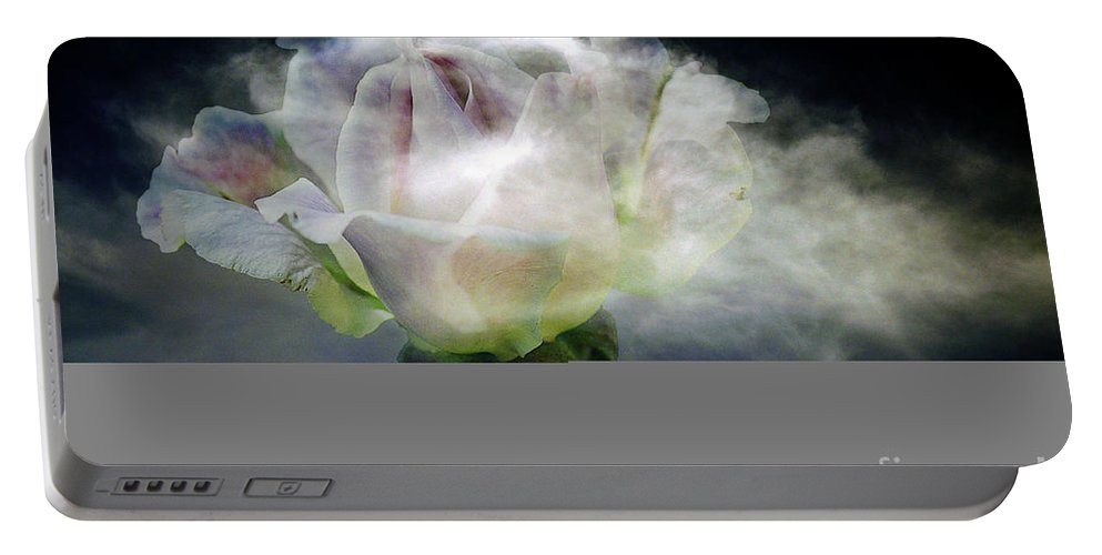 Clay Portable Battery Charger featuring the photograph Cloud Rose by Clayton Bruster