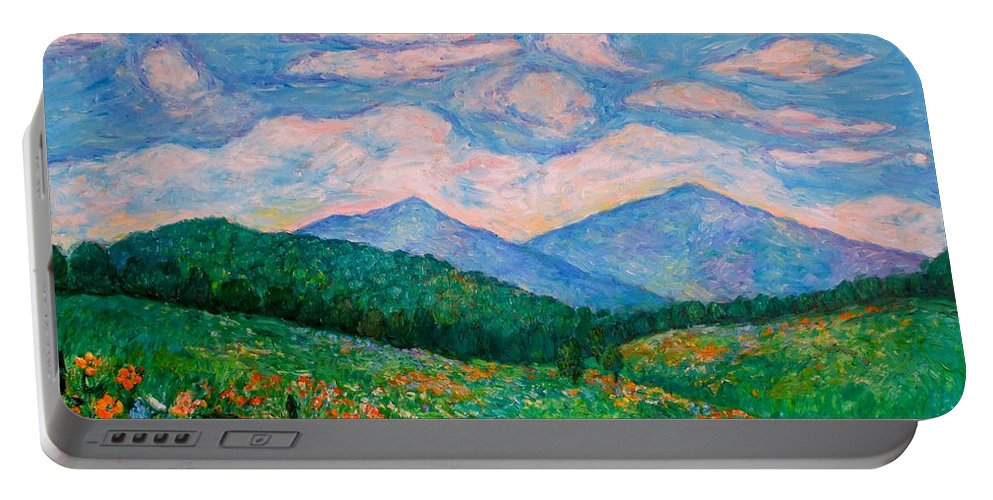 Kendall Kessler Portable Battery Charger featuring the painting Cloud Swirl Over The Peaks Of Otter by Kendall Kessler