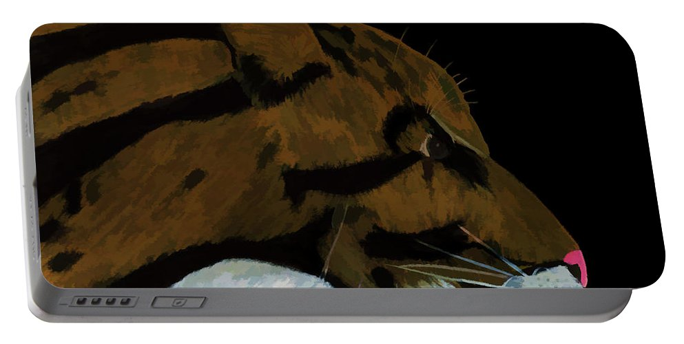 Hand Portable Battery Charger featuring the painting Clouded Leopard by D Hackett
