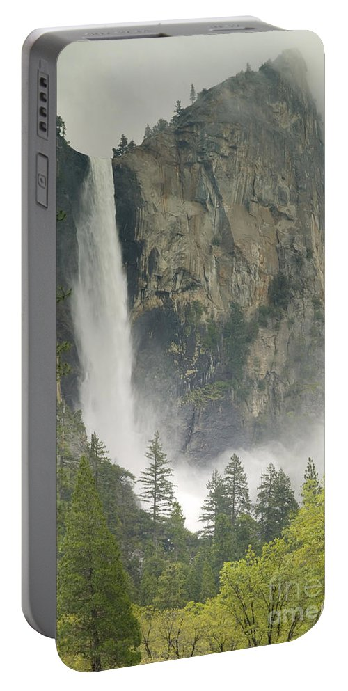 Waterfall Portable Battery Charger featuring the photograph Clouds Hang Over Bridaveil Falls by Inga Spence