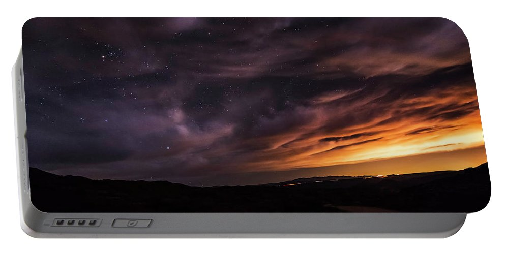 Arizona Portable Battery Charger featuring the photograph Clouds In A Night Desert by Daniel Valentin