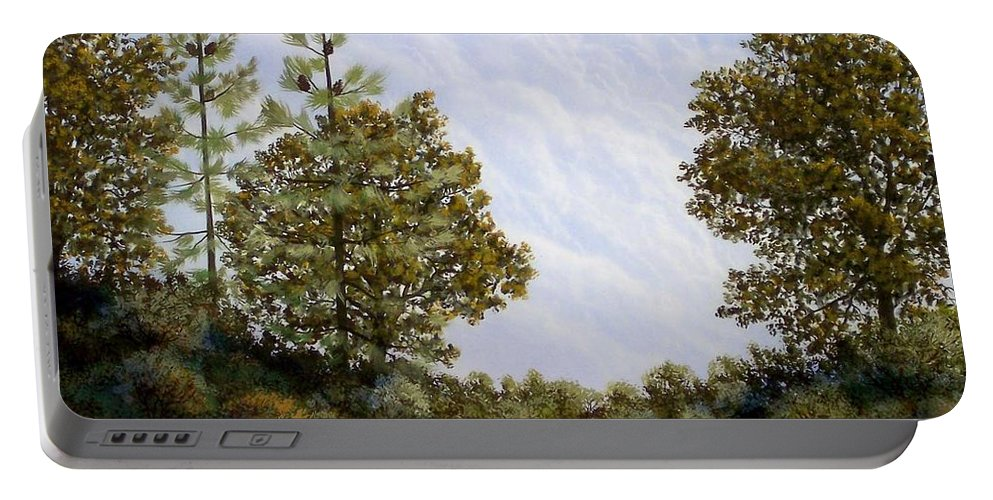 Landscape Portable Battery Charger featuring the painting Clouds In Foothills by Frank Wilson