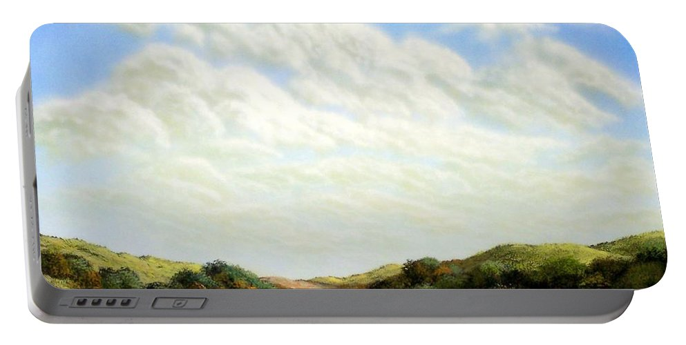 Landscape Portable Battery Charger featuring the painting Clouds Of Spring by Frank Wilson