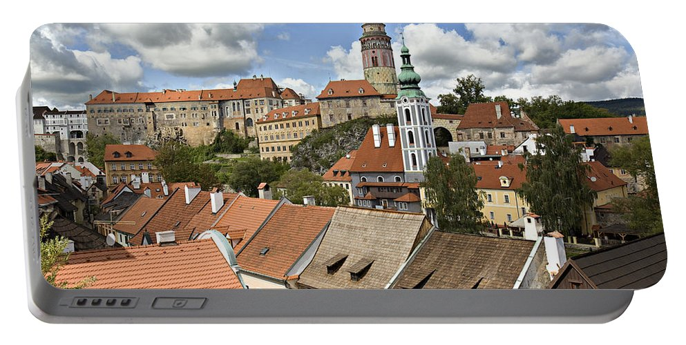 Cesky Krumlov Portable Battery Charger featuring the photograph Clouds Over Cesky Krumlov by Madeline Ellis