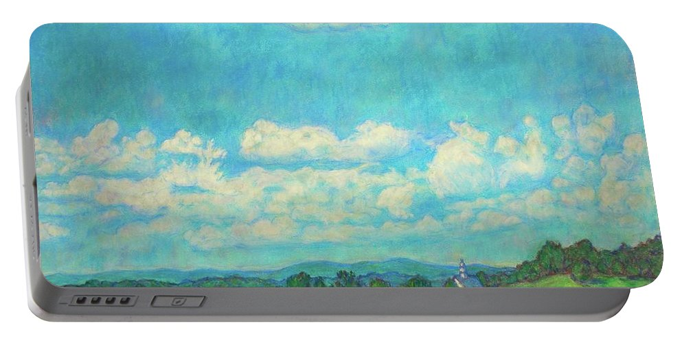 Landscape Portable Battery Charger featuring the painting Clouds Over Fairlawn by Kendall Kessler
