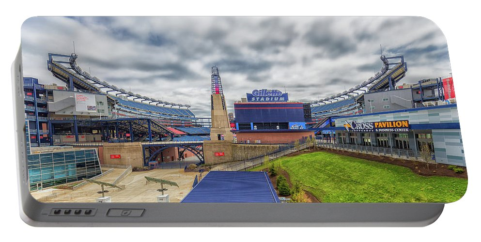 Clouds Over Gillette Stadium Portable Battery Charger featuring the photograph Clouds Over Gillette Stadium by Brian MacLean