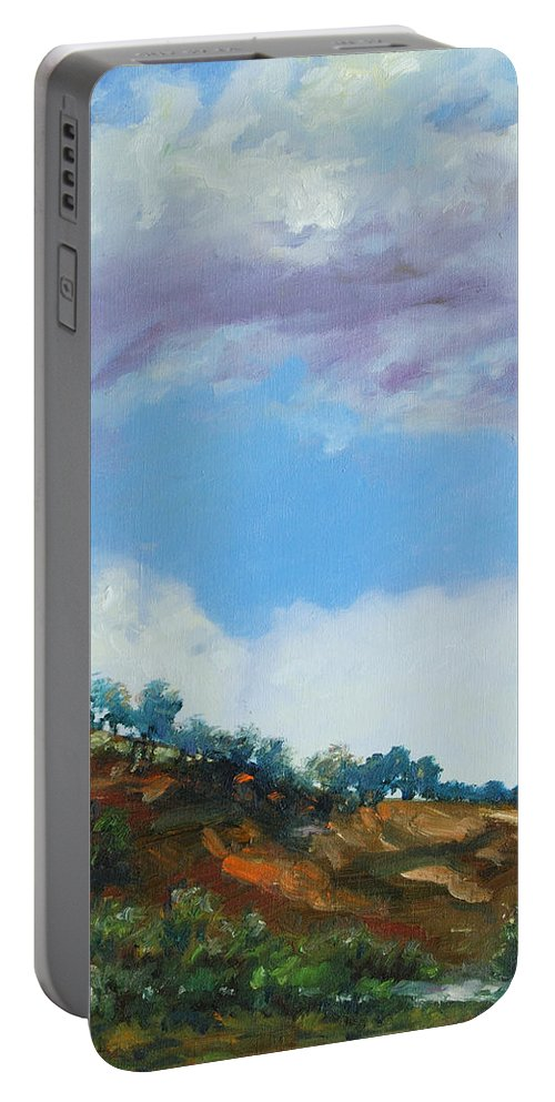 Sky Portable Battery Charger featuring the painting Clouds by Rick Nederlof