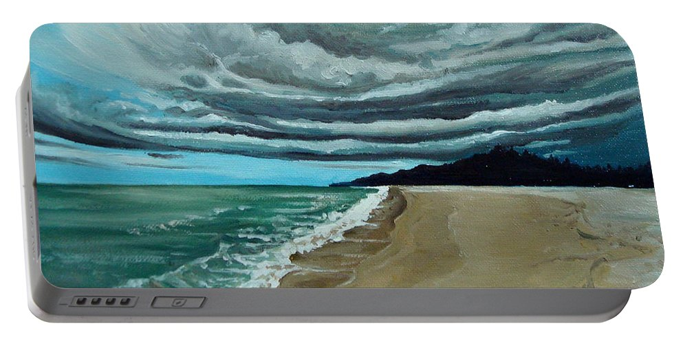 Landscape.beach Portable Battery Charger featuring the painting Clouds Rolling In by Elizabeth Robinette Tyndall