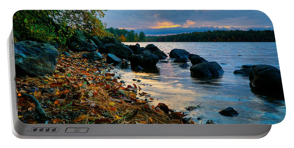 October Portable Battery Charger featuring the photograph Cloudy Autumn Sunset by Lilia D
