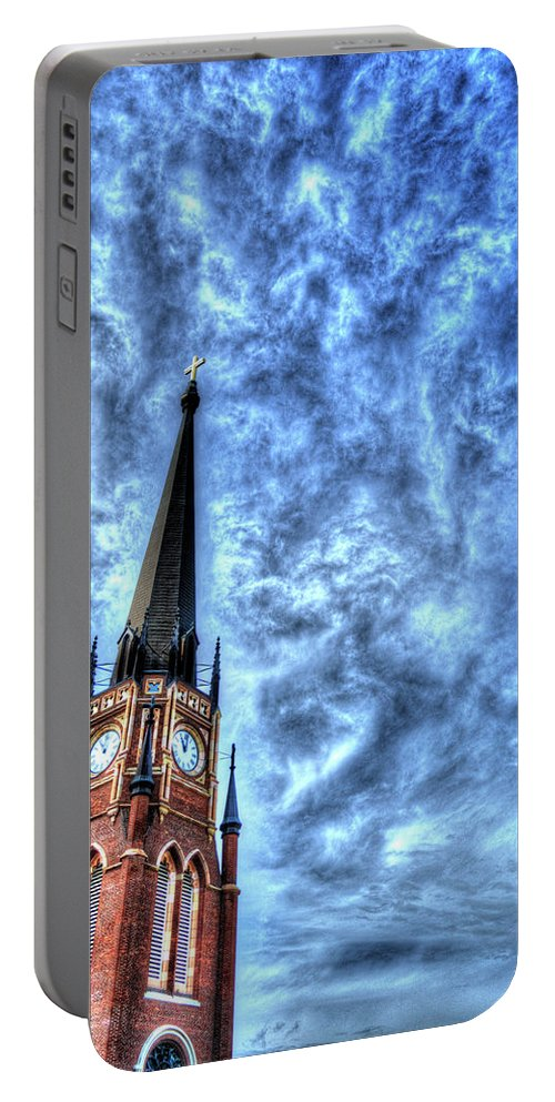 Royal Portable Battery Charger featuring the photograph Cloudy Cathedrial Painting by FineArtRoyal Joshua Mimbs