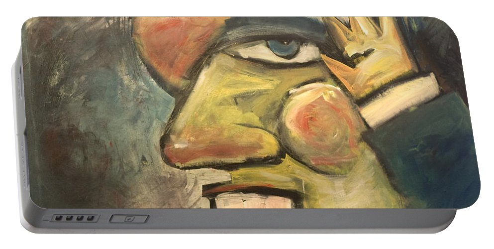 Clown Portable Battery Charger featuring the painting Clown Painting by Tim Nyberg