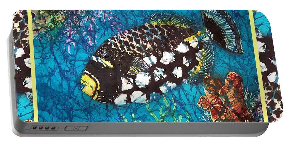 Batik Portable Battery Charger featuring the painting Clown Triggerfish-bordered by Sue Duda