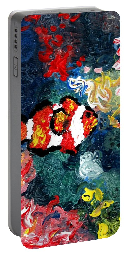Fish Portable Battery Charger featuring the painting Clownfish by Luiza Vizoli