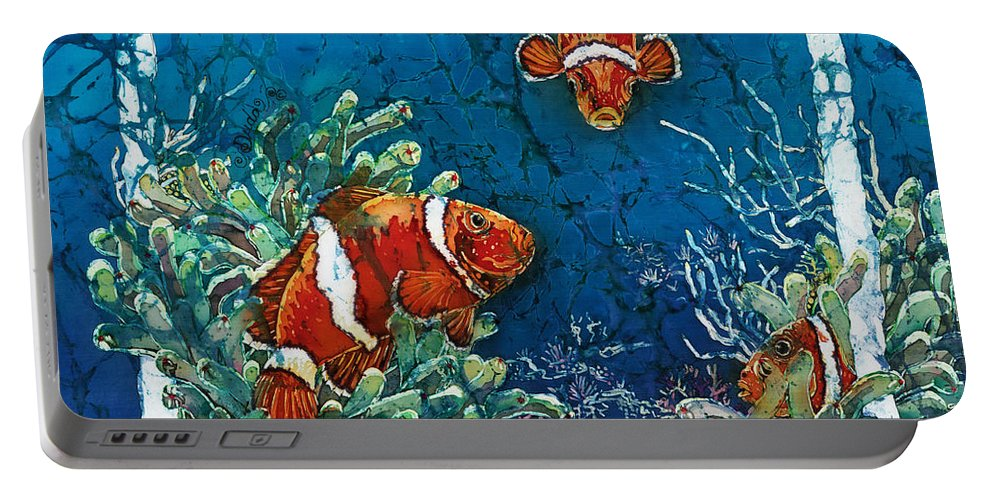 Ocean Portable Battery Charger featuring the painting Clowning Around - Clownfish by Sue Duda