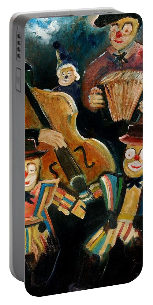 Clowns Circus Portable Battery Charger featuring the print Clowns by Pol Ledent
