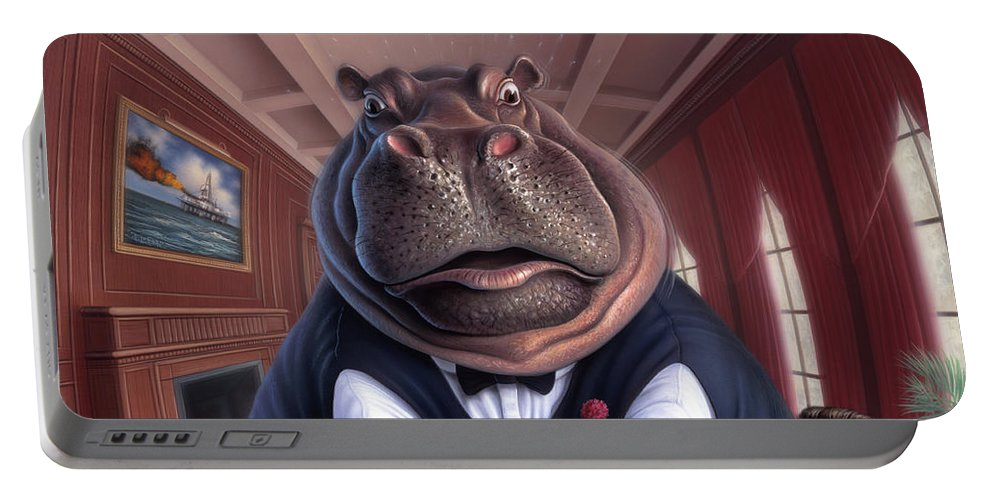 Hippo Portable Battery Charger featuring the painting Clumsy by Jerry LoFaro