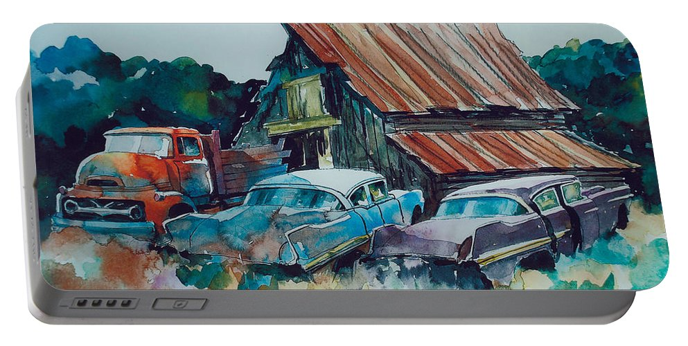 Ford Cabover Portable Battery Charger featuring the painting Cluster of Restorables by Ron Morrison