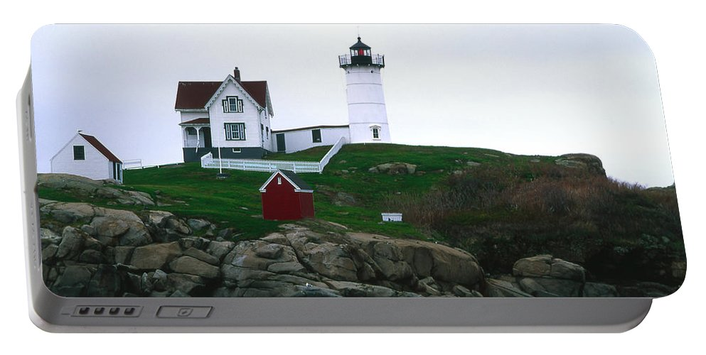 Landscape Lighthouse Nautical New England Nubble Light Cape Neddick Portable Battery Charger featuring the photograph Cnrf0502 by Henry Butz