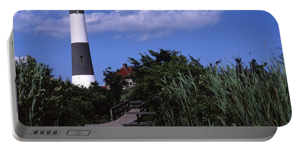 Landscape Lighthouse Fire Island Portable Battery Charger featuring the photograph Cnrf0702 by Henry Butz