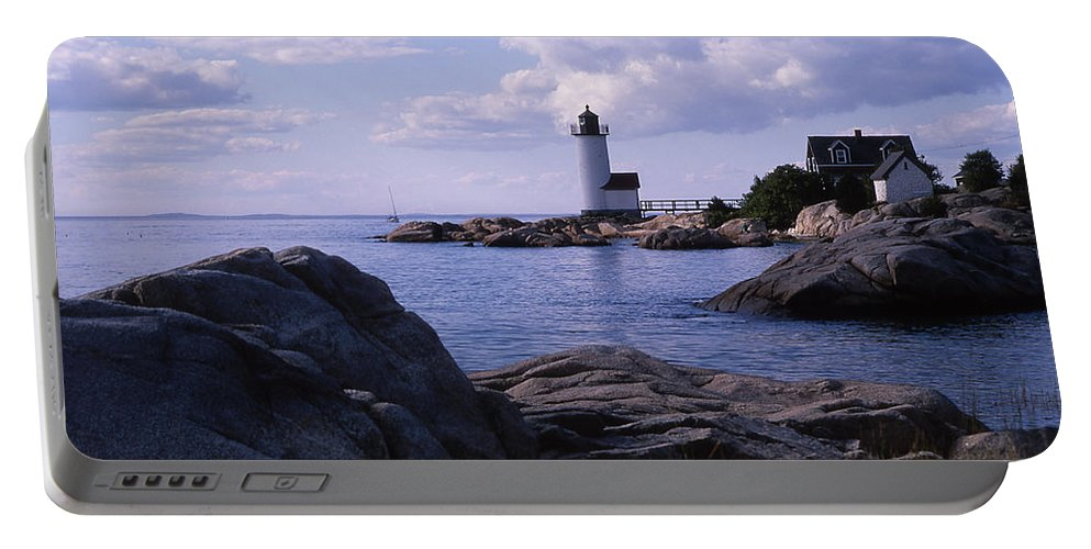 Landscape Lighthouse New England Annisquam Harbor Light Gloucester Portable Battery Charger featuring the photograph Cnrf0903 by Henry Butz