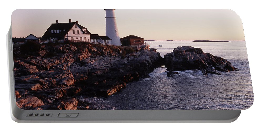 Landscape Lighthouse Nautical New England Portland Head Light Cape Elizabeth Portable Battery Charger featuring the photograph Cnrf0905 by Henry Butz